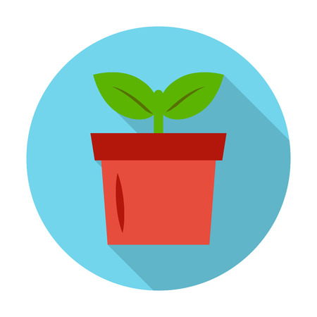 seedlings: seedling, pot flat icon with long shadow for web design