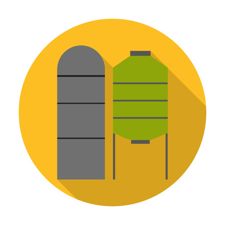 grain storage: grain elevators flat icon with long shadow for web design Illustration