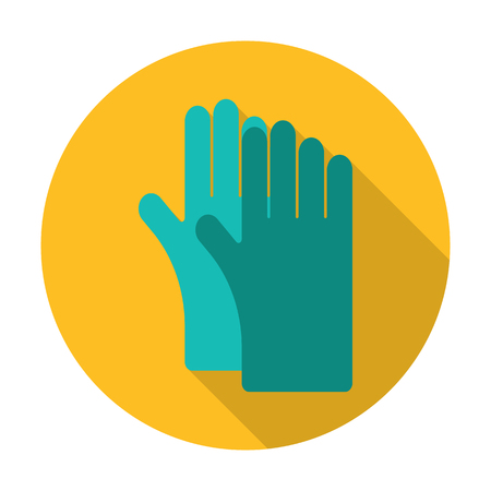 long gloves: gloves flat icon with long shadow for web design