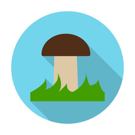 hongo: seta icono plana con una larga sombra para el diseño web