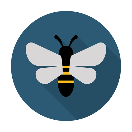 abejas panal: abeja icono plana con una larga sombra para el diseño web