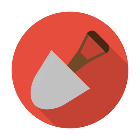 agricultura: shovel flat icon with long shadow for web design