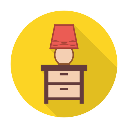 dresser: dresser,lamps flat icon with long shadow for web design Illustration
