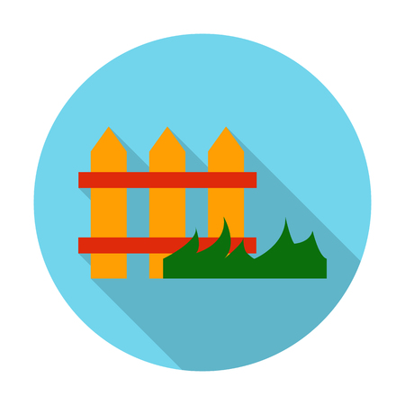 agricultura: fence flat icon with long shadow for web design