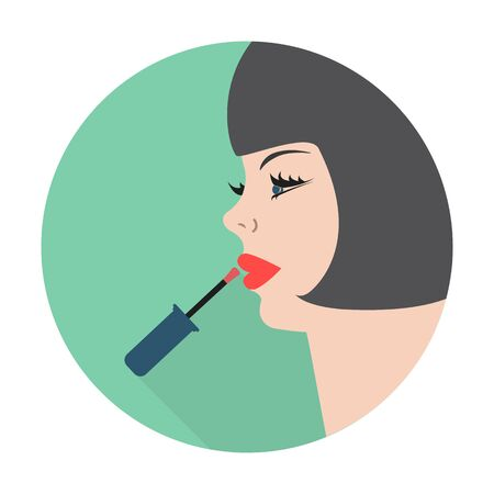 pomade: face,pomade flat icon with long shadow for web design Illustration