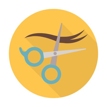 scissors hair: scissors,hair flat icon with long shadow for web design