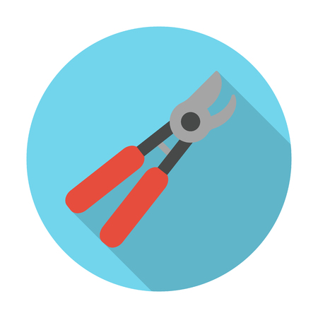 secateurs: secateurs flat icon with long shadow for web design