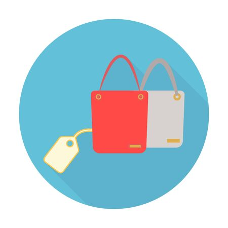 handbags: Handbags flat icon with long shadow for web design Illustration