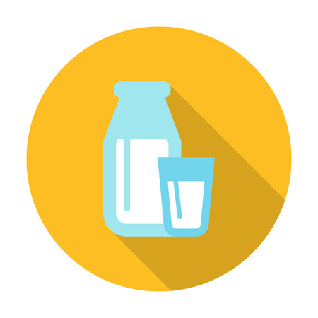 agricultura: glass, bottle flat icon with long shadow for web design