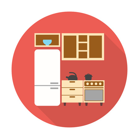 refrigerator kitchen: kitchen,refrigerator flat icon with long shadow for web design