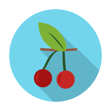 agricultura: cherry flat icon with long shadow for web design