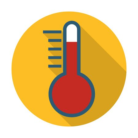 agricultura: thermometer flat icon with long shadow for web design