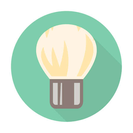 shaving brush: shaving brush flat icon with long shadow for web design