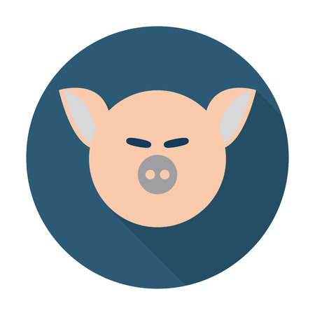 agricultura: pig flat icon with long shadow for web design Illustration