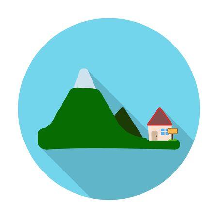 las casas, montañas icono plana con una larga sombra para el diseño web