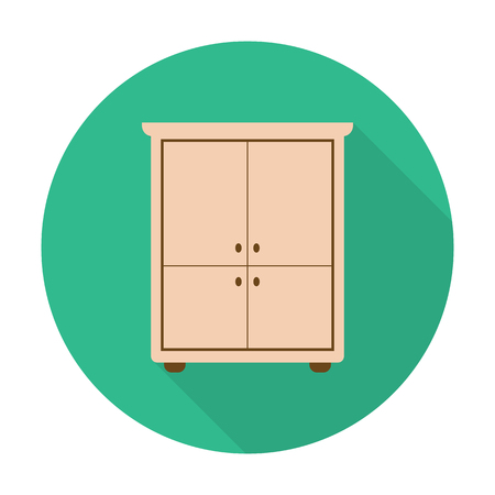 closet: closet flat icon with long shadow for web design