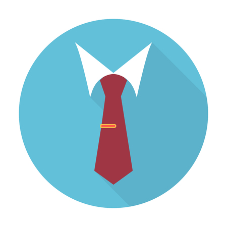 woman clothes: tie flat icon with long shadow for web design