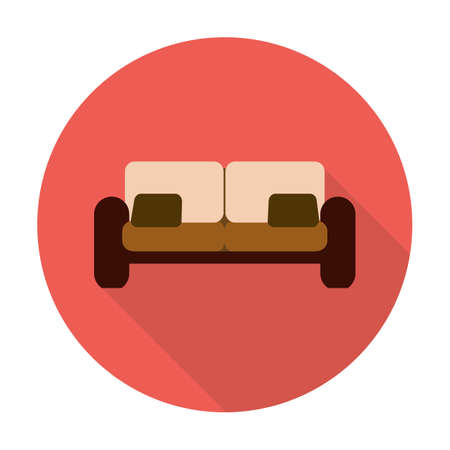 couch: couch flat icon with long shadow for web design