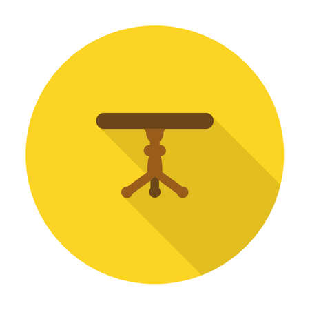countertop: table flat icon with long shadow for web design