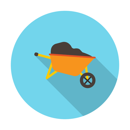 agricultura: wheelbarrow flat icon with long shadow for web design
