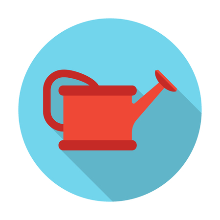 tip style design: watering can flat icon with long shadow for web design Illustration
