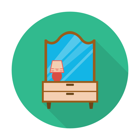 dressing table: lamps,dressing table flat icon with long shadow for web design