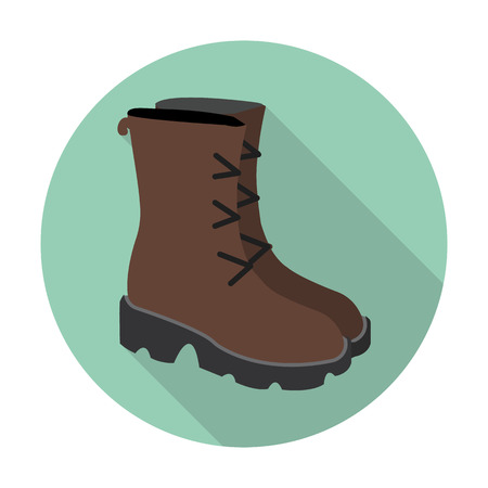 women in boots: boots flat icon with long shadow for web design