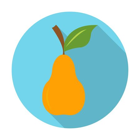 petiole: pear flat icon with long shadow for web design