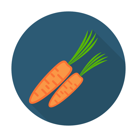 carotene: carrot flat icon with long shadow for web design Illustration