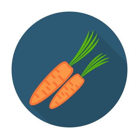 zanahorias: zanahoria icono plana con una larga sombra para el diseño web Vectores