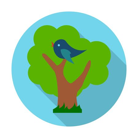 starling: birds, trees flat icon with long shadow for web design
