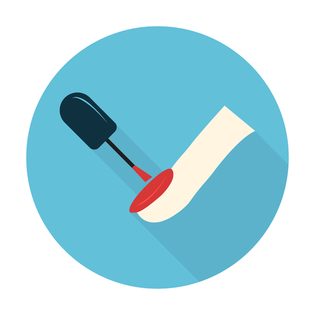 fingers: finger,nail polish flat icon with long shadow for web design