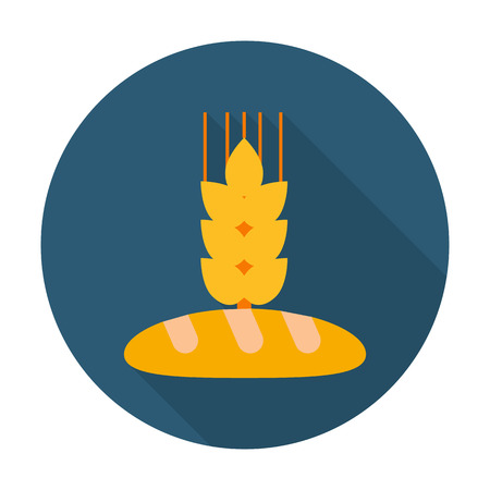 white bread: white bread, ear flat icon with long shadow for web design Illustration