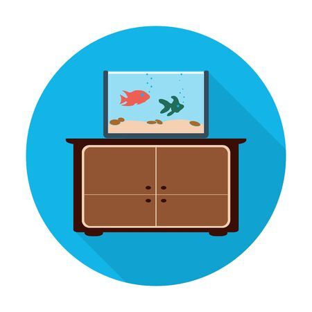 aquarium: commode,aquarium flat icon with long shadow for web design