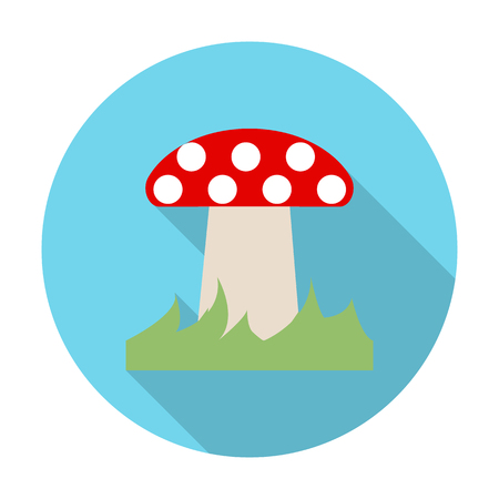 hongo: icono de Amanita plana con una larga sombra para el diseño web