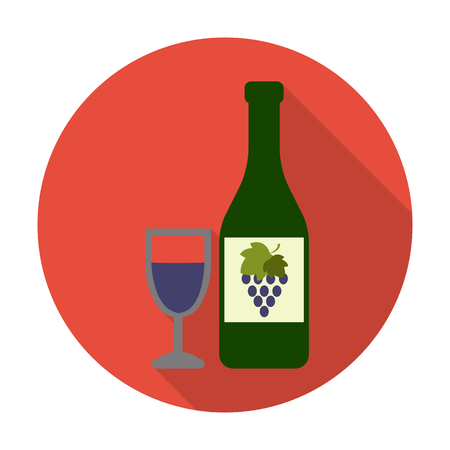 agricultura: bottles, glasses flat icon with long shadow for web design