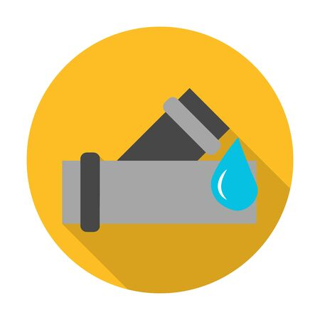 plastic pipe: water pipes flat icon with long shadow for web design