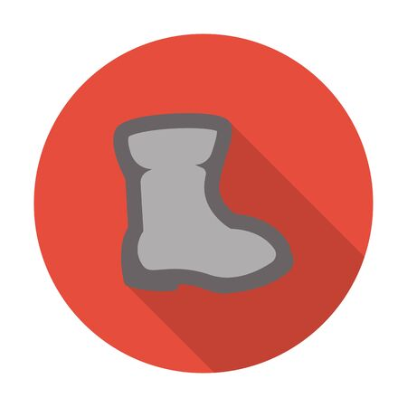 rubber boots: boots flat icon with long shadow for web design
