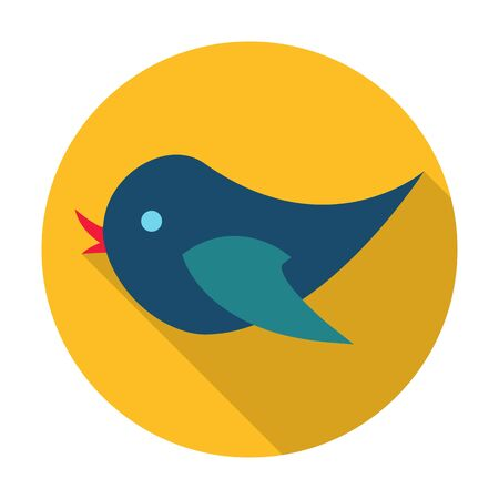 agricultura: bird flat icon with long shadow for web design