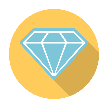 diamond flat icon with long shadow for web design