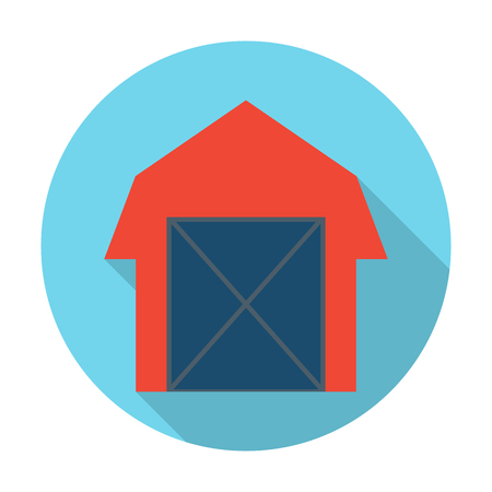 agricultura: barn flat icon with long shadow for web design