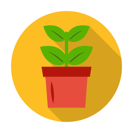 seedling: seedling, pot flat icon with long shadow for web design