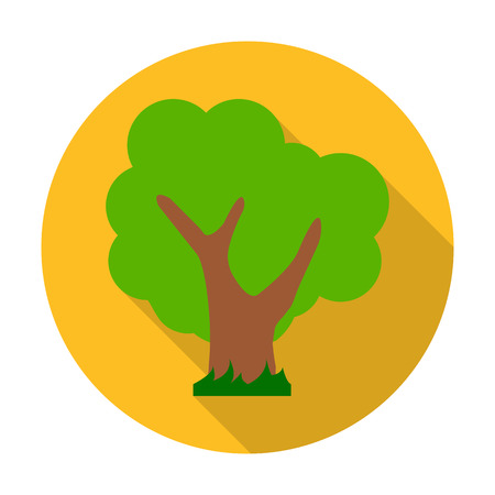 agricultura: tree flat icon with long shadow for web design