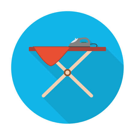 ironing: ironing board flat icon with long shadow for web design