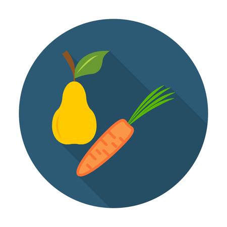 agricultura: pear, carrot flat icon with long shadow for web design