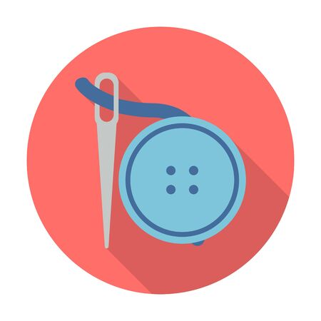 pin needle: needle, buttons flat icon with long shadow for web design