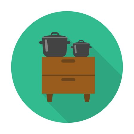 pans: dresser,pans flat icon with long shadow for web design Illustration