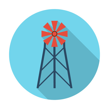 agricultura: wind generator flat icon with long shadow for web design
