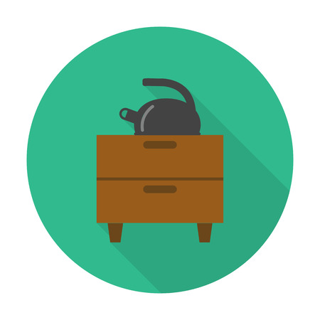 dresser: dresser, kettle flat icon with long shadow for web design