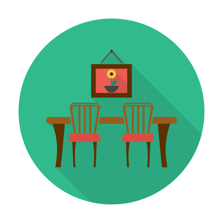 countertop: table,chairs flat icon with long shadow for web design Illustration